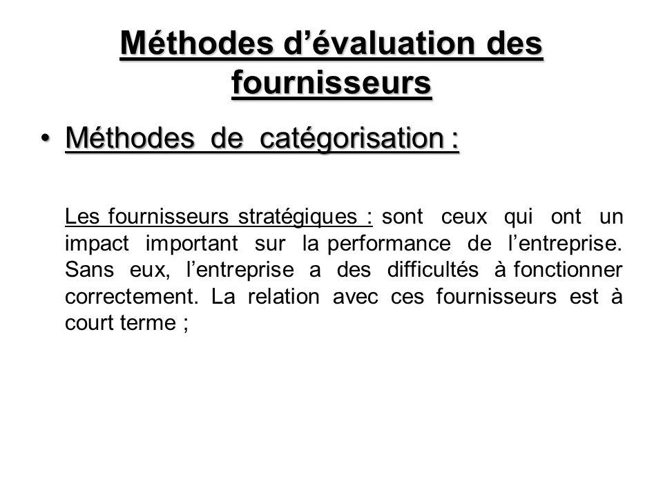 Méthodes d'évaluation des fournisseurs