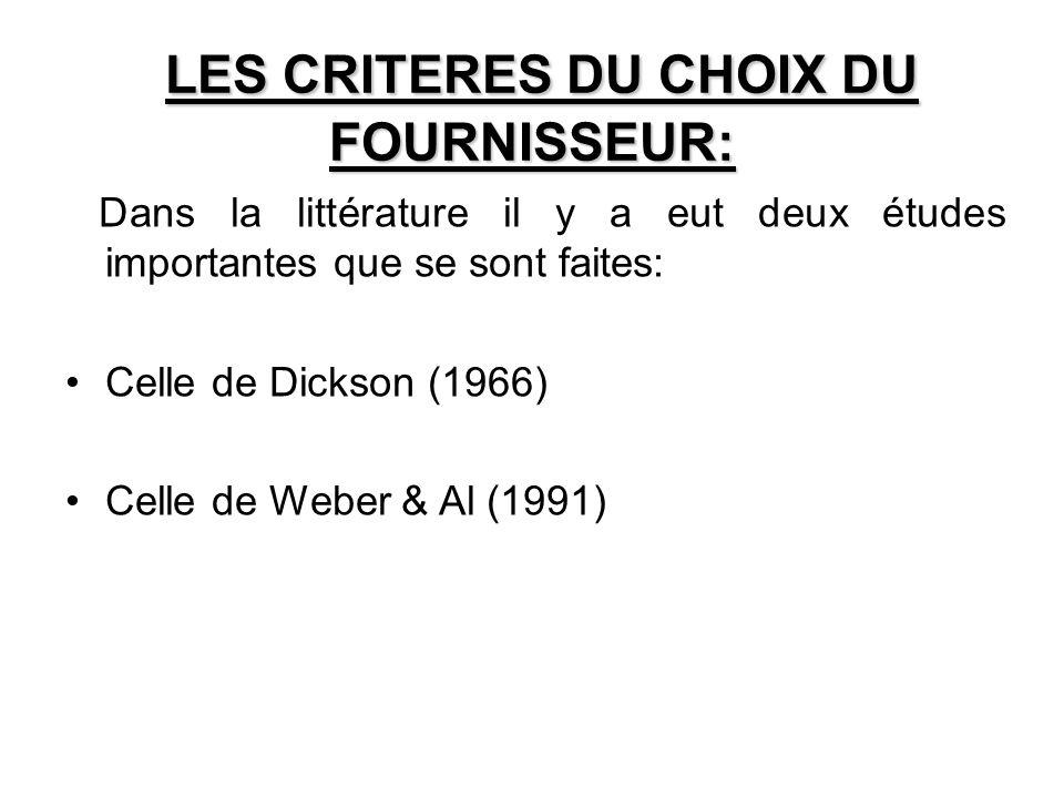 LES CRITERES DU CHOIX DU FOURNISSEUR: