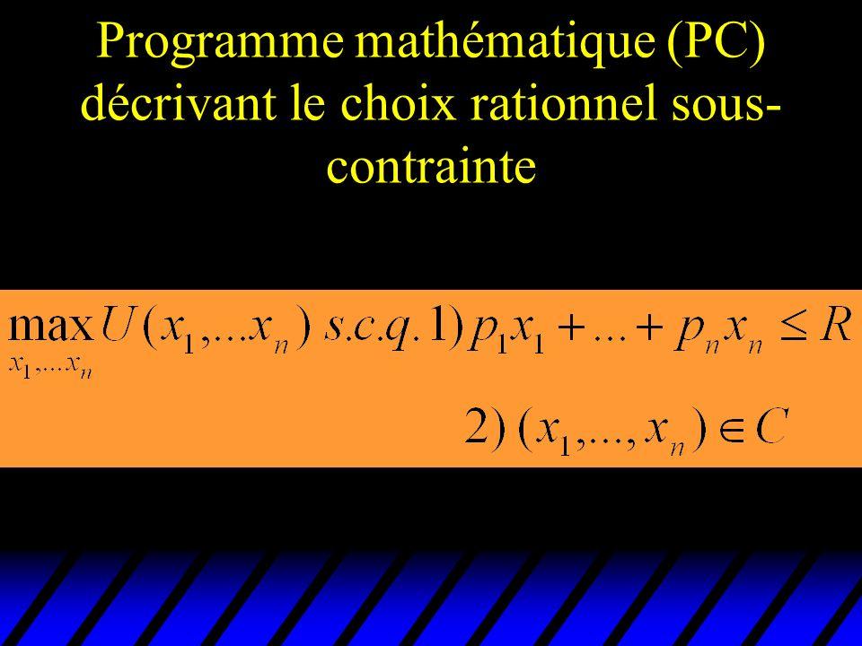 Programme mathématique (PC) décrivant le choix rationnel sous-contrainte
