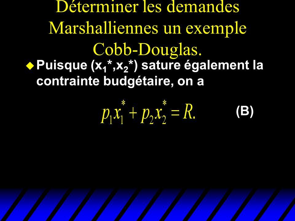 Déterminer les demandes Marshalliennes un exemple Cobb-Douglas.