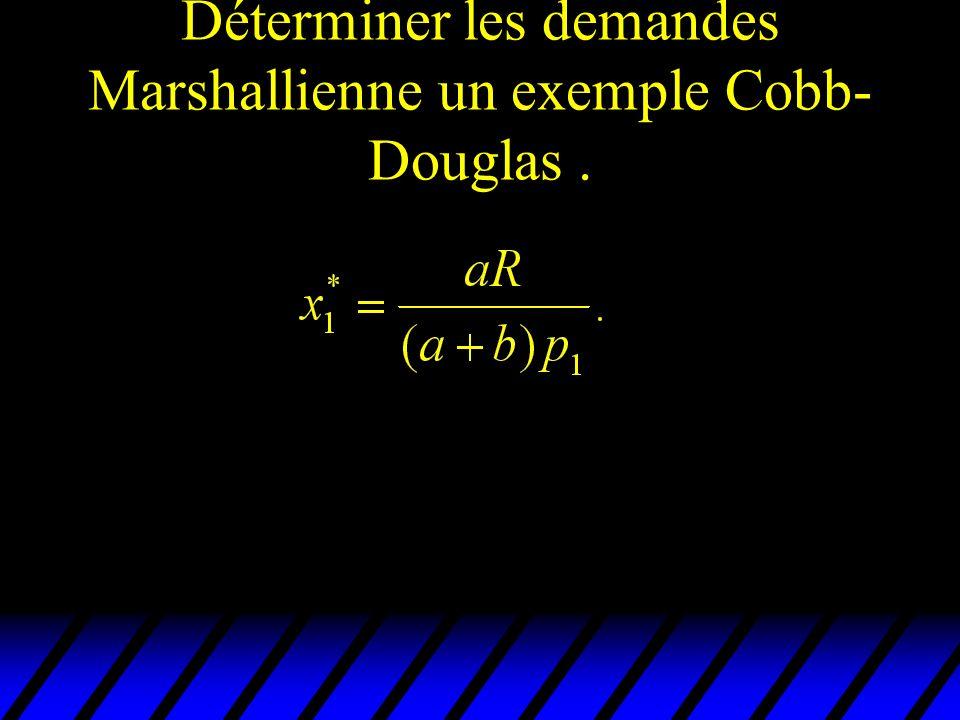 Déterminer les demandes Marshallienne un exemple Cobb-Douglas .