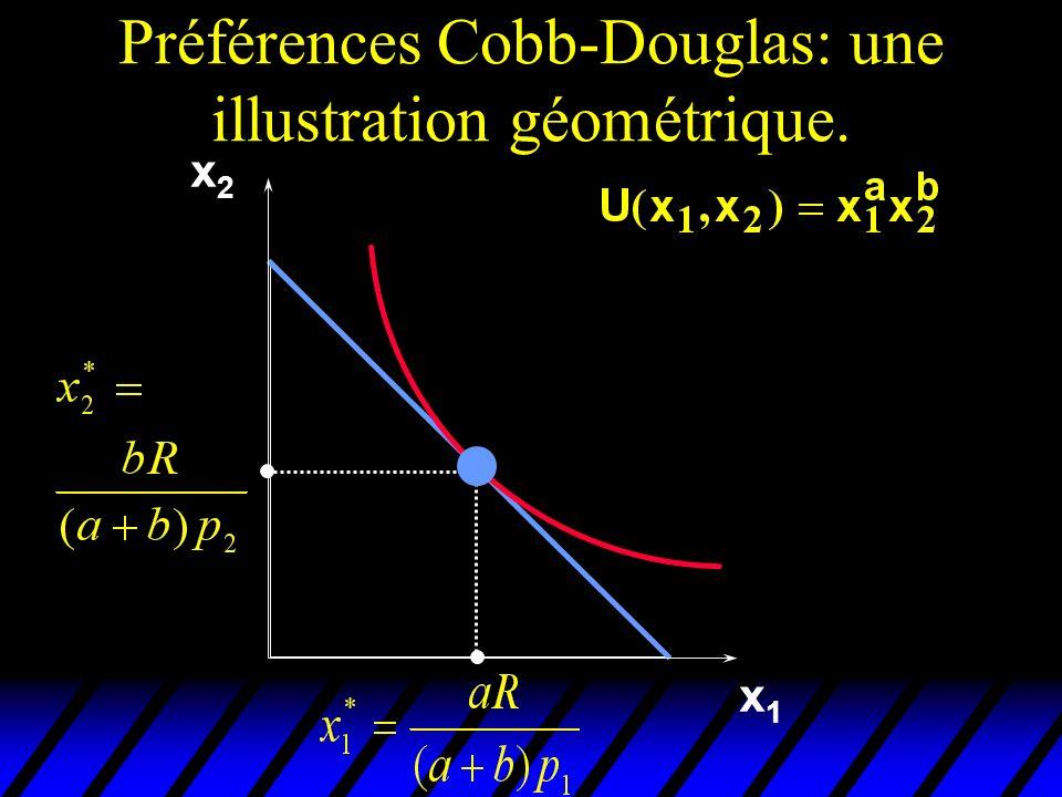 Préférences Cobb-Douglas: une illustration géométrique.