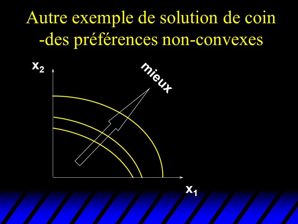 Autre exemple de solution de coin -des préférences non-convexes