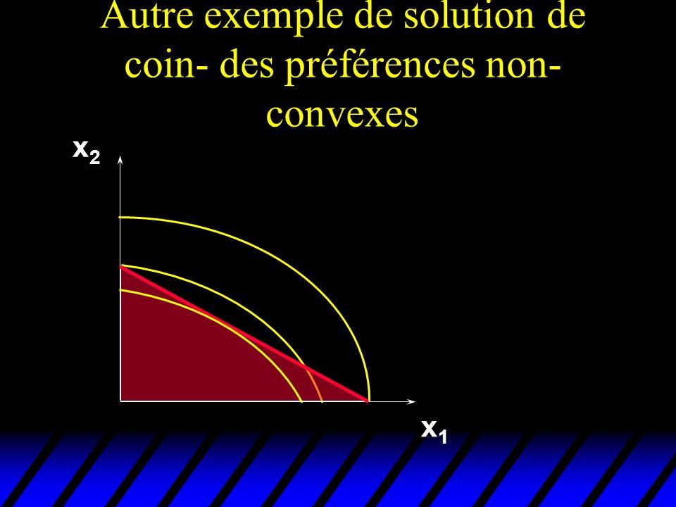 Autre exemple de solution de coin- des préférences non-convexes