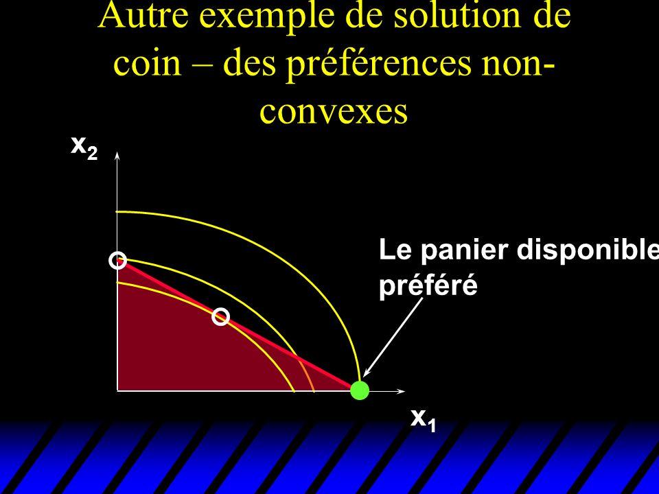 Autre exemple de solution de coin – des préférences non-convexes