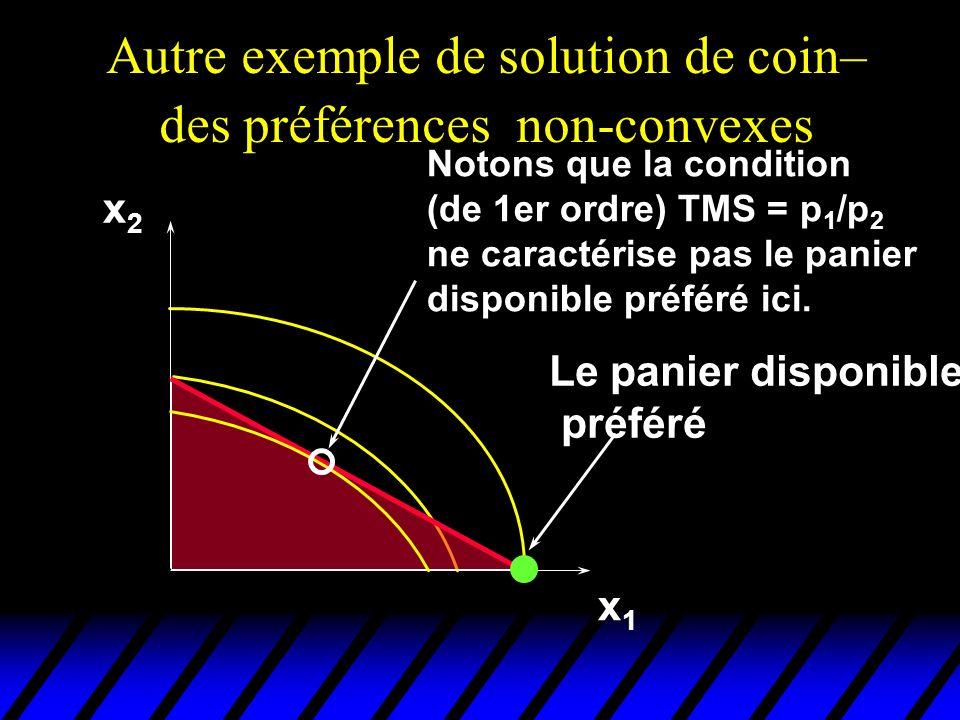 Autre exemple de solution de coin– des préférences non-convexes