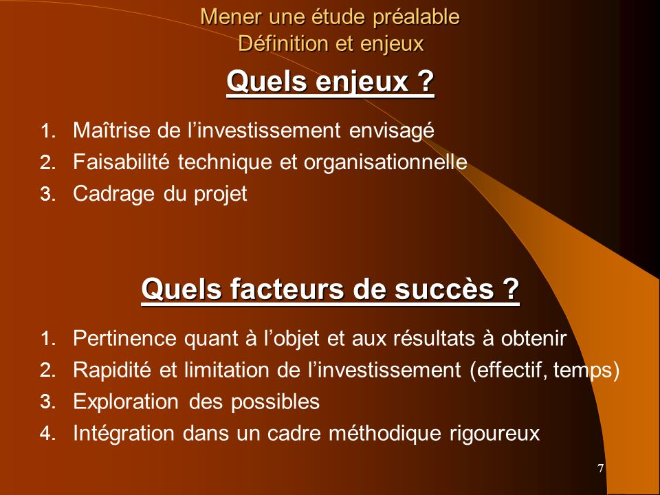 Quels facteurs de succès