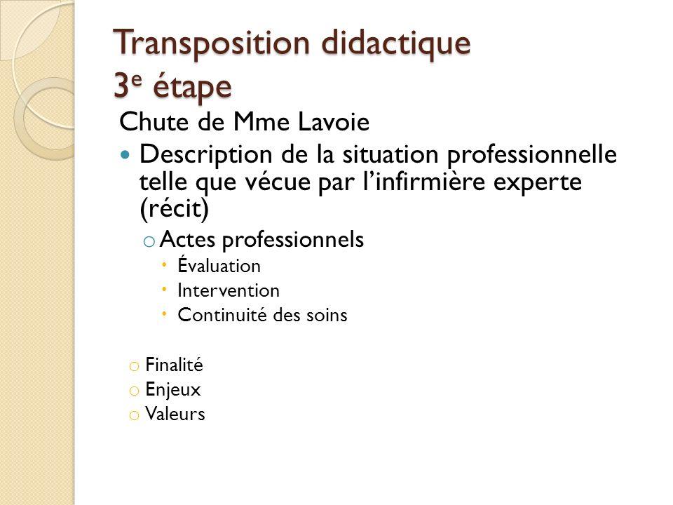 Transposition didactique 3e étape