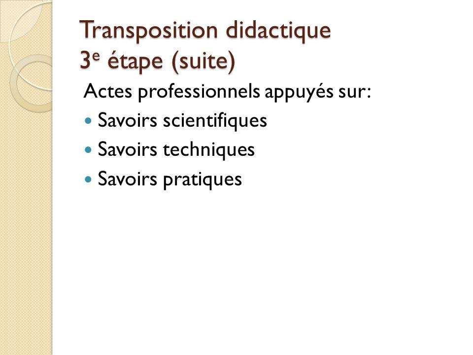 Transposition didactique 3e étape (suite)