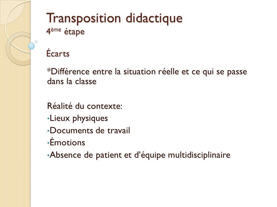 Transposition didactique 4ème étape Écarts