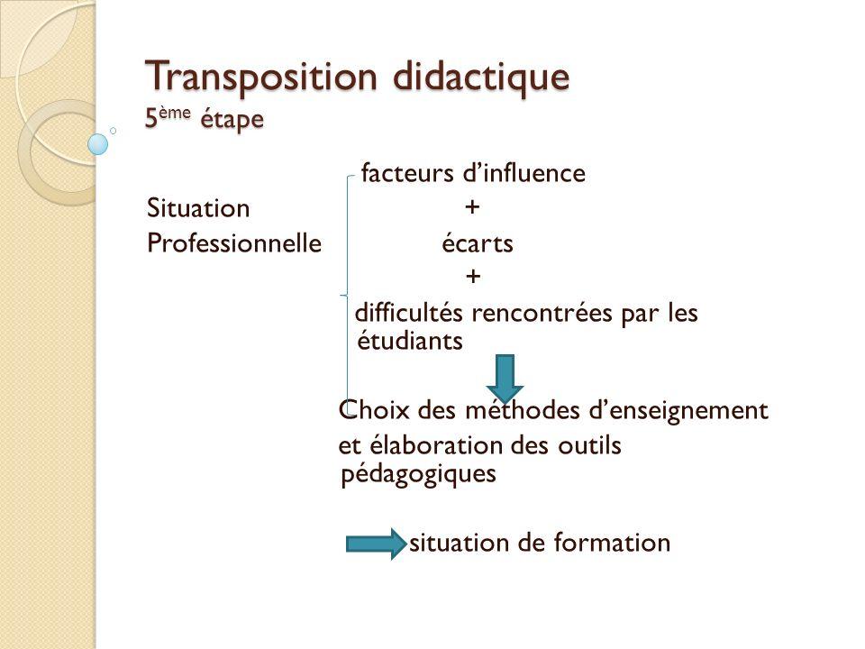 Transposition didactique 5ème étape
