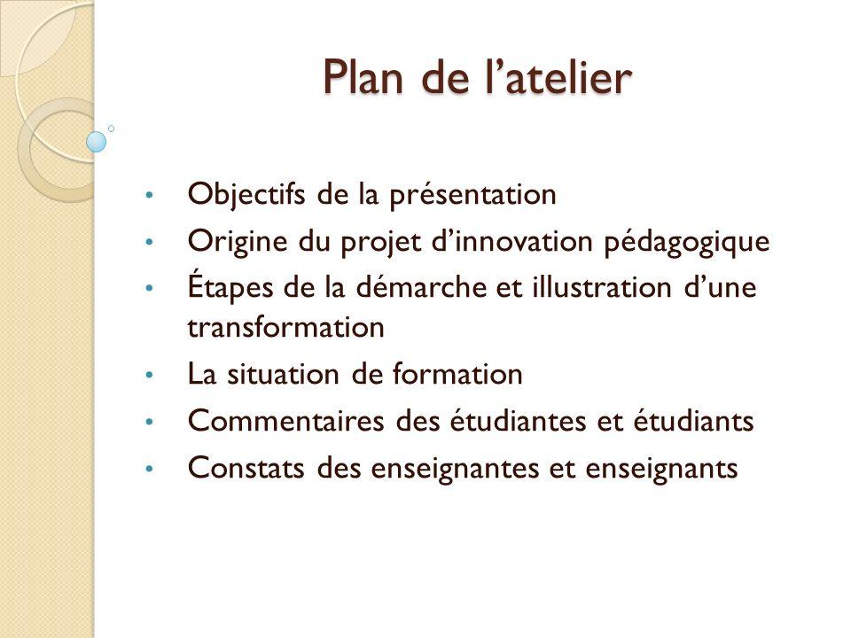 Plan de l'atelier Objectifs de la présentation