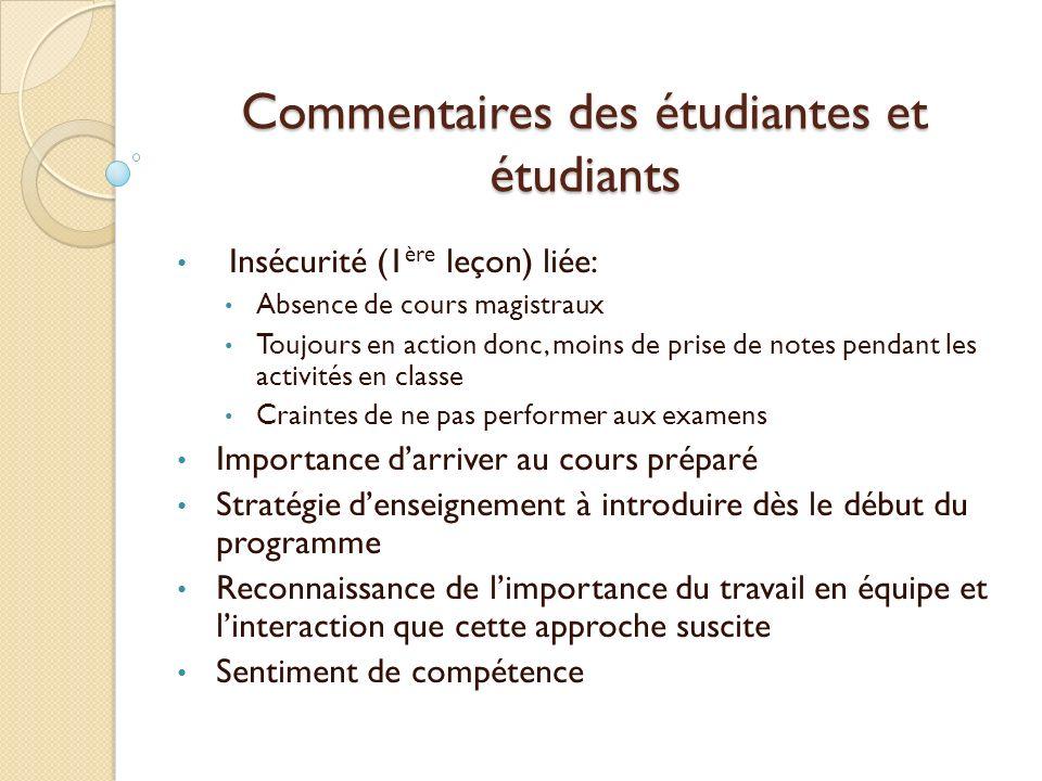 Commentaires des étudiantes et étudiants