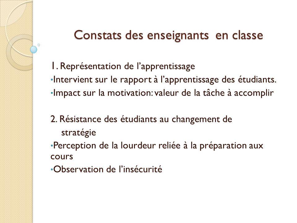Constats des enseignants en classe