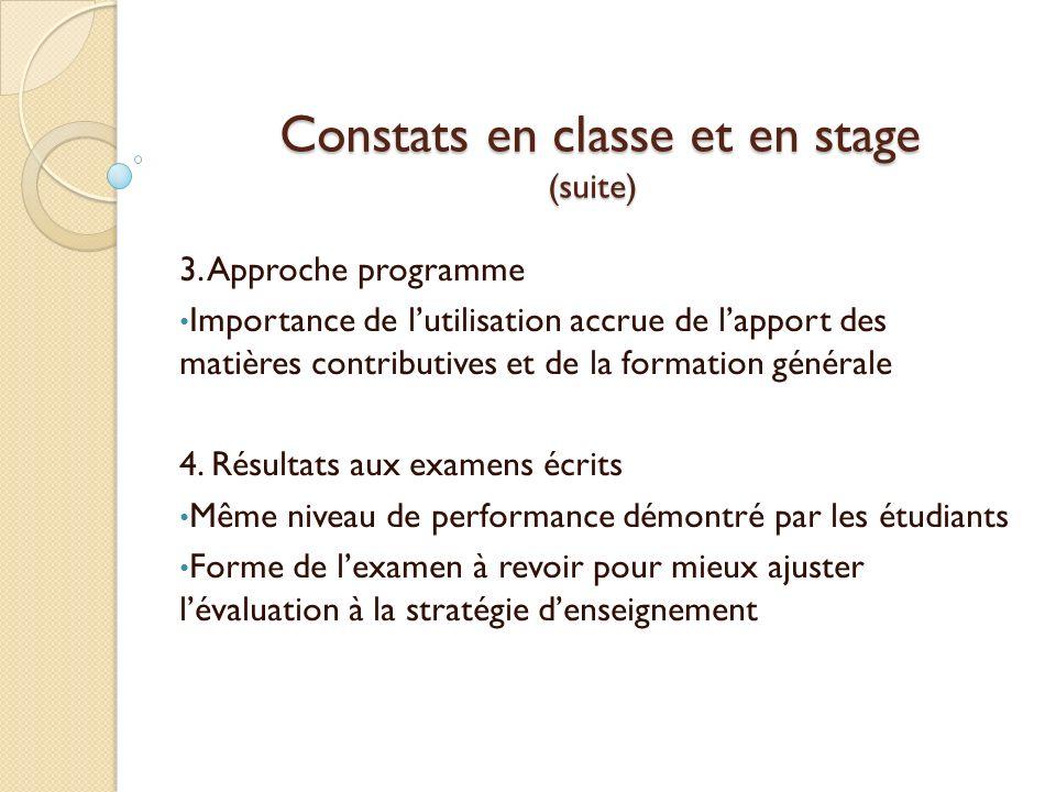 Constats en classe et en stage (suite)