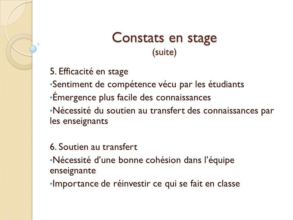 Constats en stage (suite)