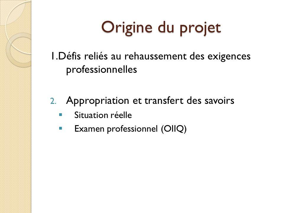 Origine du projet 1.Défis reliés au rehaussement des exigences professionnelles. Appropriation et transfert des savoirs.