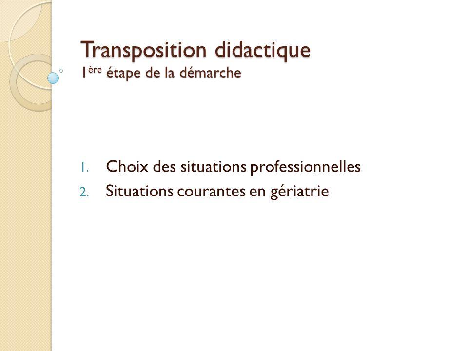Transposition didactique 1ère étape de la démarche