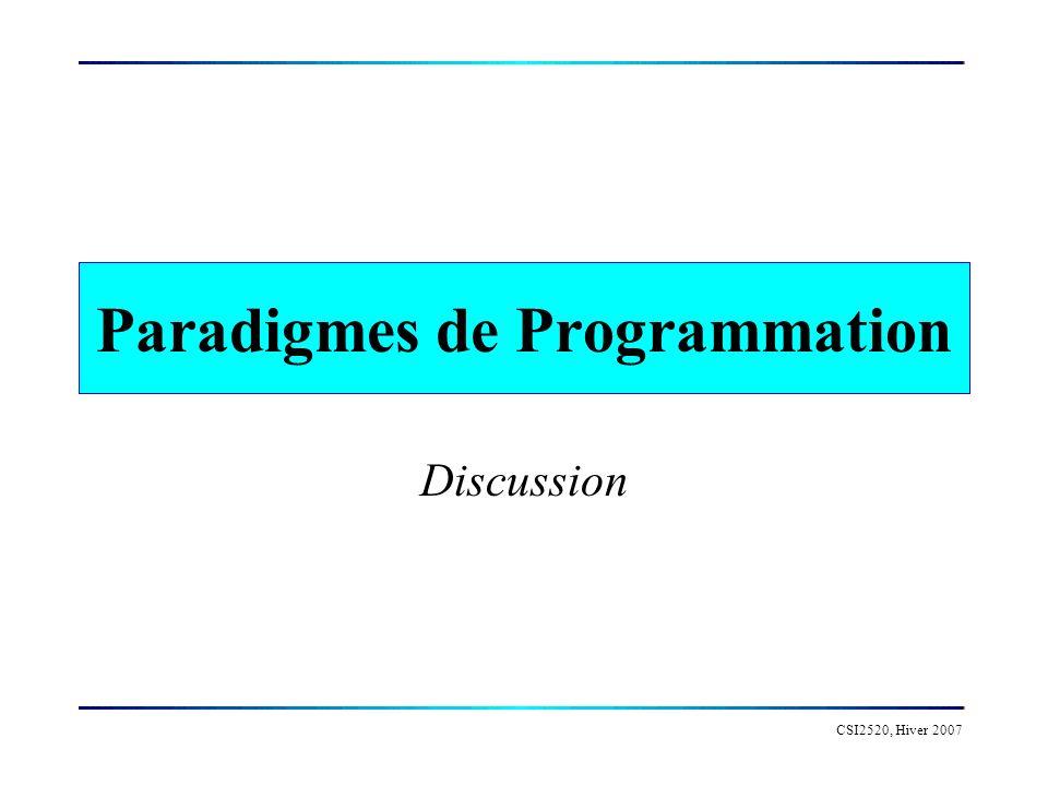 Paradigmes de Programmation