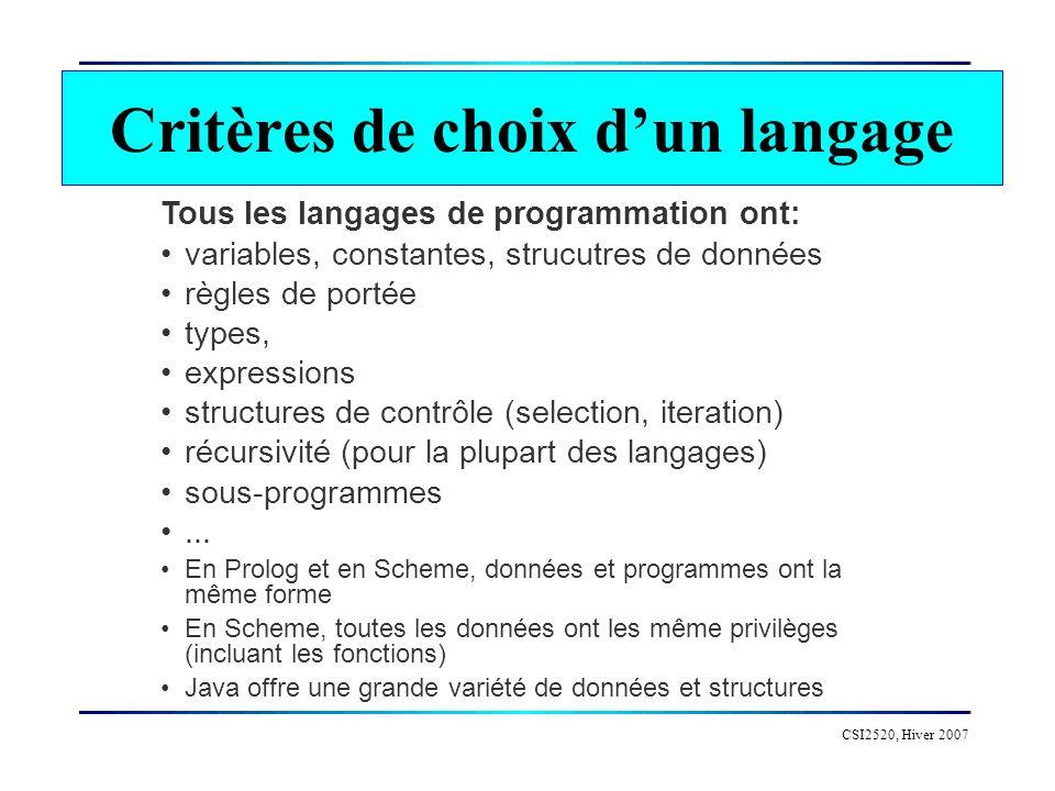 Critères de choix d'un langage