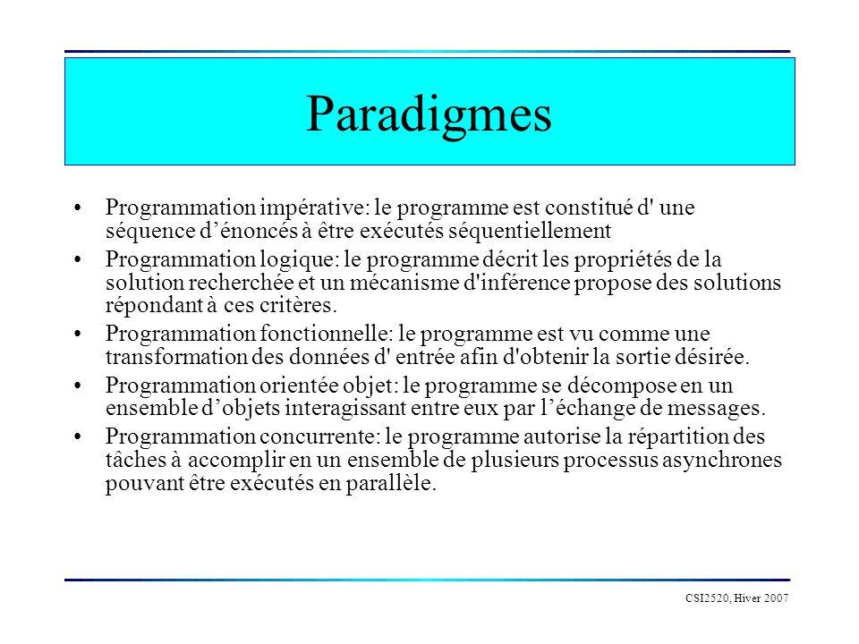 Paradigmes Programmation impérative: le programme est constitué d une séquence d'énoncés à être exécutés séquentiellement.