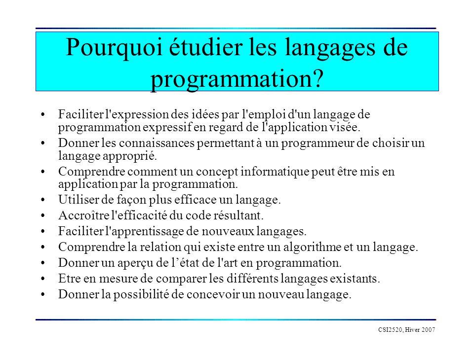 Pourquoi étudier les langages de programmation