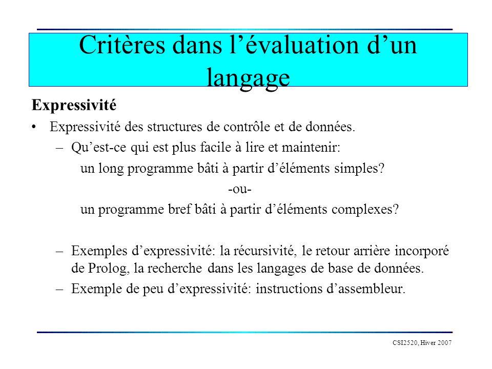 Critères dans l'évaluation d'un langage