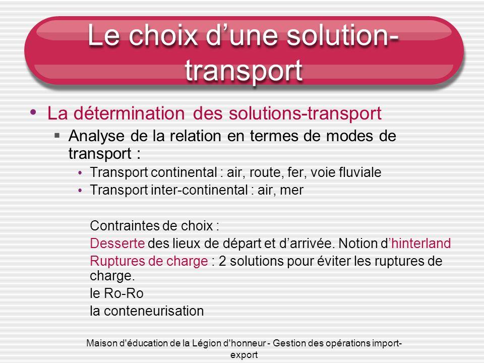 Le choix d'une solution-transport