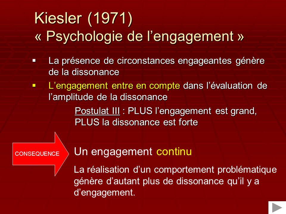 Kiesler (1971) « Psychologie de l'engagement »