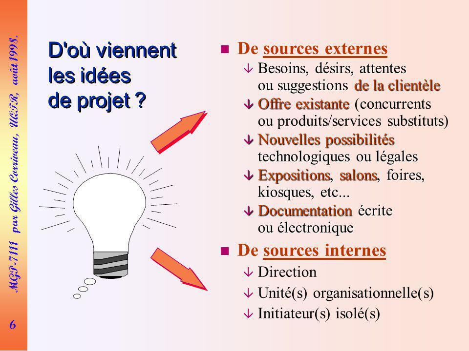 D où viennent les idées de projet