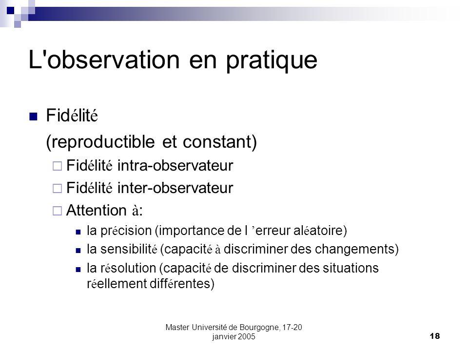 L observation en pratique