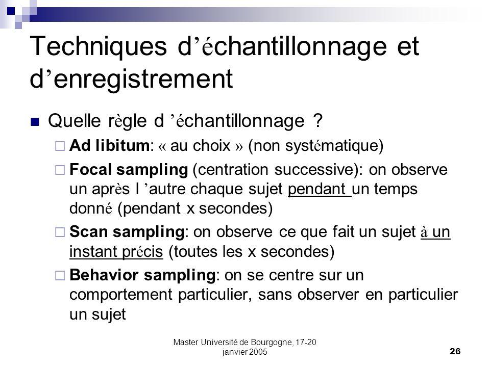 Techniques d'échantillonnage et d'enregistrement