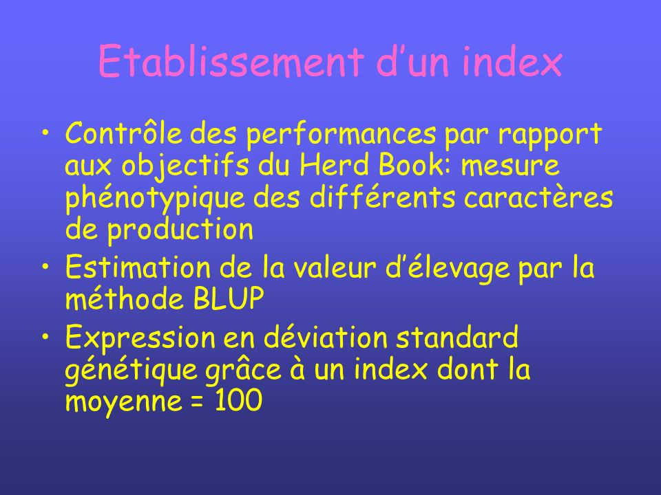 Etablissement d'un index