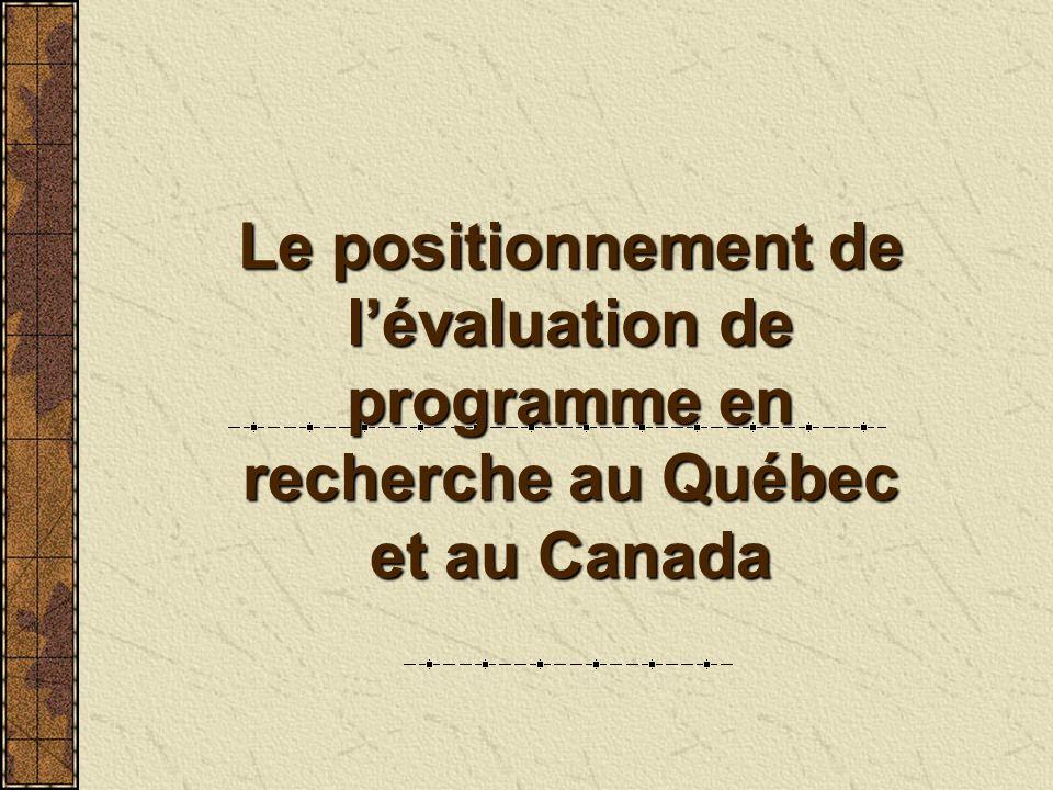 Le positionnement de l'évaluation de programme en recherche au Québec et au Canada