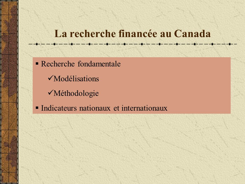 La recherche financée au Canada