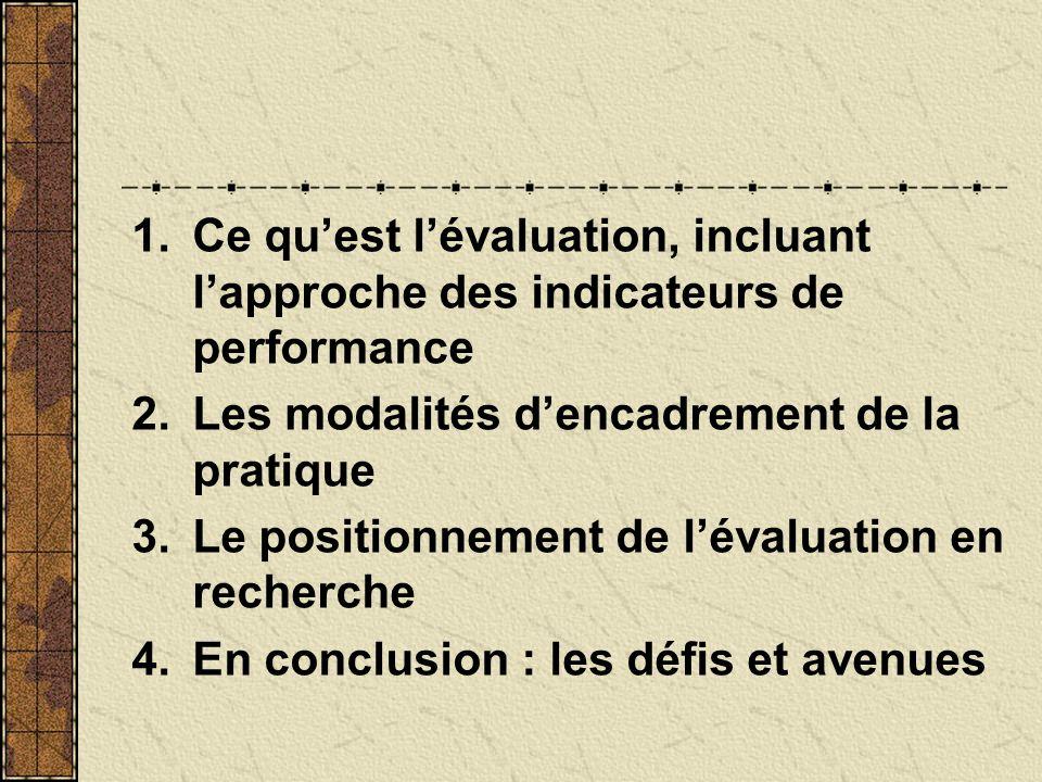 Ce qu'est l'évaluation, incluant l'approche des indicateurs de performance
