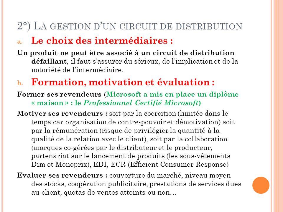 2°) La gestion d'un circuit de distribution