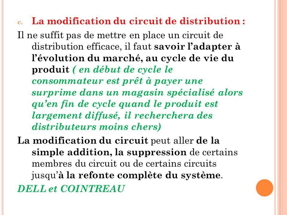 La modification du circuit de distribution :