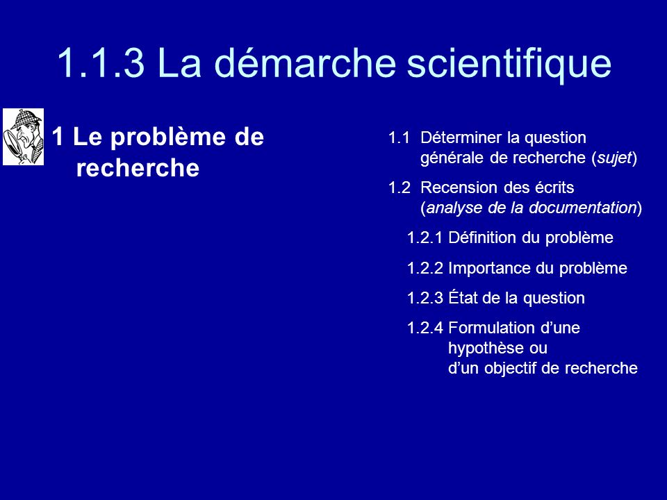 1.1.3 La démarche scientifique