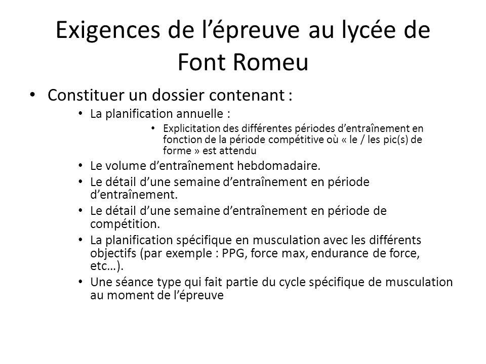 Exigences de l'épreuve au lycée de Font Romeu