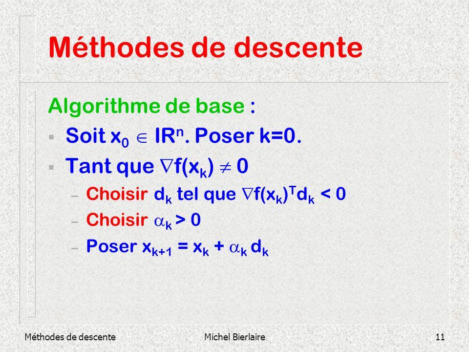 Méthodes de descente Algorithme de base : Soit x0  IRn. Poser k=0.