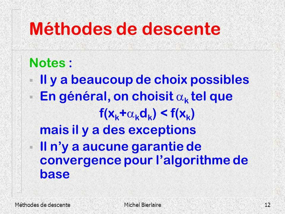 Méthodes de descente Notes : Il y a beaucoup de choix possibles