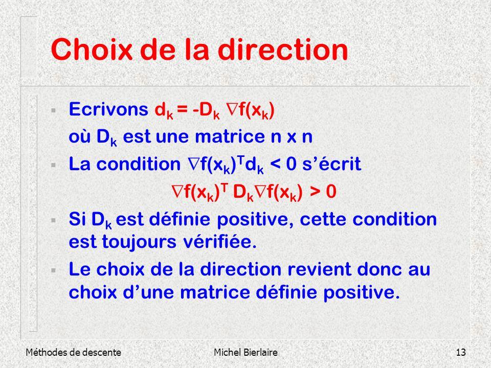 Choix de la direction Ecrivons dk = -Dk f(xk)