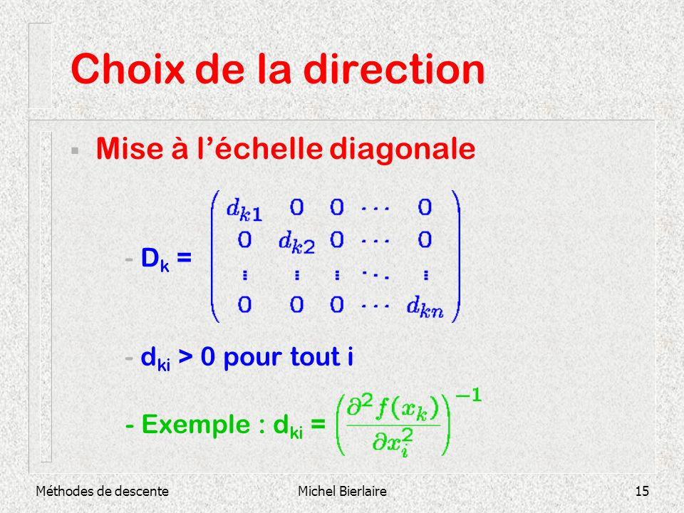 Choix de la direction Mise à l'échelle diagonale - Dk =