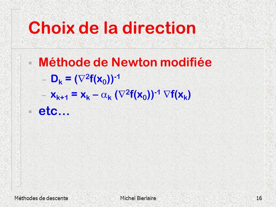 Choix de la direction Méthode de Newton modifiée etc… Dk = (2f(x0))-1