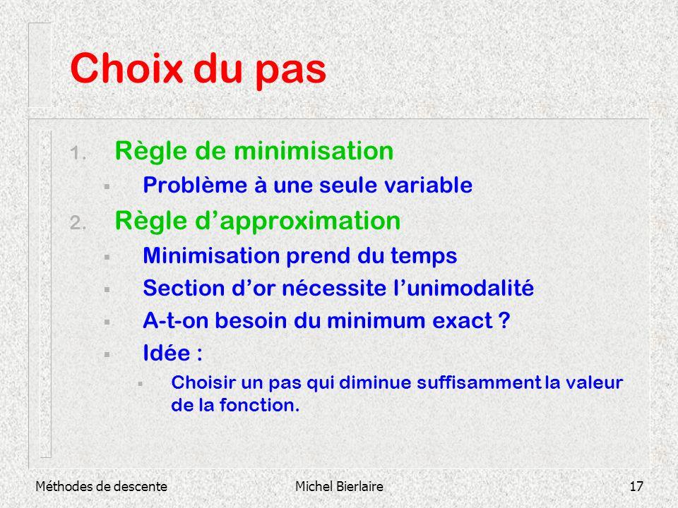 Choix du pas Règle de minimisation Règle d'approximation