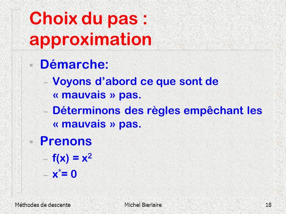 Choix du pas : approximation