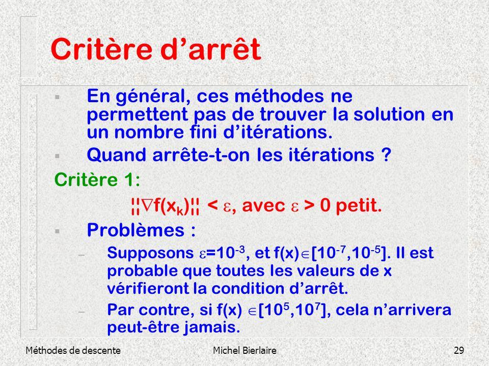 ¦¦f(xk)¦¦ < e, avec e > 0 petit.