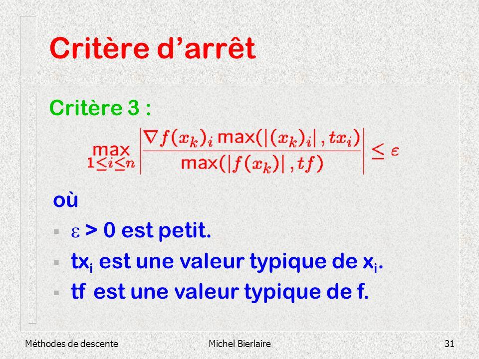 Critère d'arrêt Critère 3 : où e > 0 est petit.