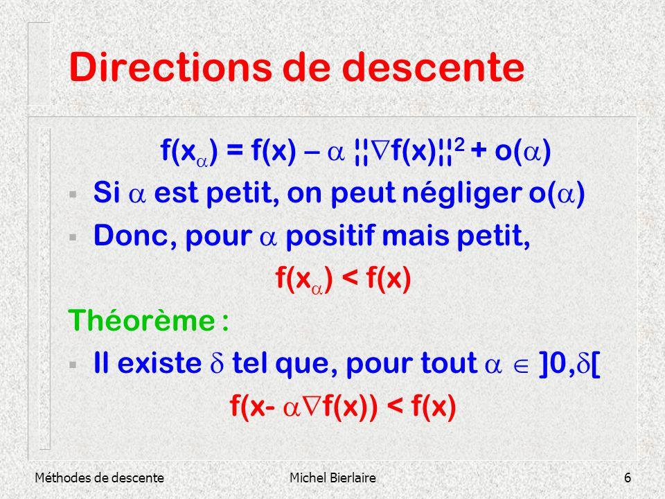 Directions de descente